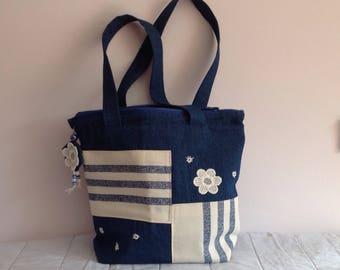 Floral jeans hand bag