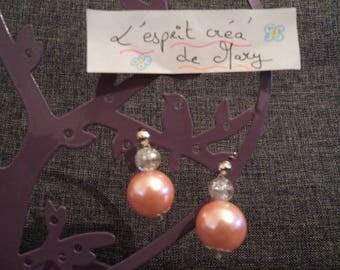 dangle earrings, light salmon