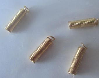 Set of 4 caps spiral cord gold - for your creations, jewellery etc.