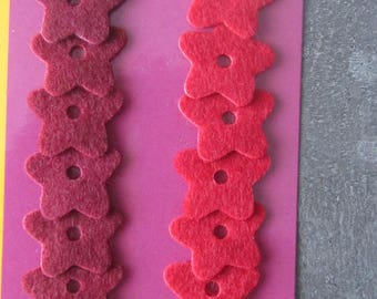 Set of 14 flowers in felt for scrapbooking, card making, home decor