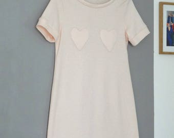 Pale pink Nightie with appliqué hearts and cotton jersey