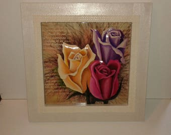 "Canvas 3d ""Trio of roses"" framed"