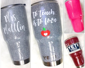 Teacher Glitter Yeti Tumbler, Choose the Glitter Color! Teacher Glitter Yeti Cup, Teacher Glitter Tumbler, Teacher Mug - with Lid & Straw!