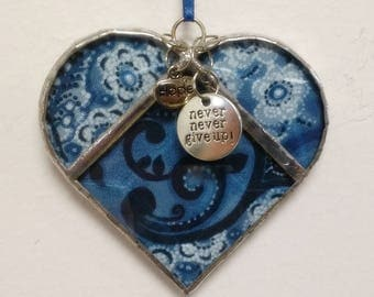 "Stained Glass Hope Heart Blue Flower ~ Two-Sided ~ 3.5 Inches with Hope & ""Never, Never Give Up"" Charms"