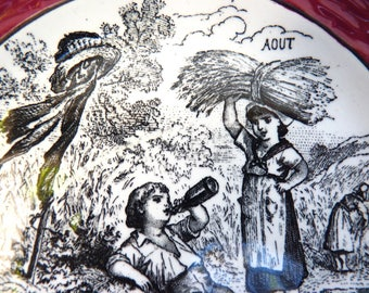 Earthenware of Sarreguemines and Digoin dessert plate. Rural scene of children over the months of the year. Month of August.