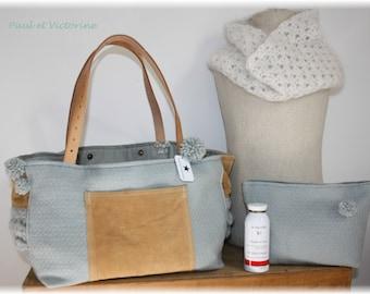 Bag and clutch * SEAFOAM tones * wool * CAMEL leather * TASSELS *.