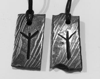 Hand forged damascus steel Norse rune necklace