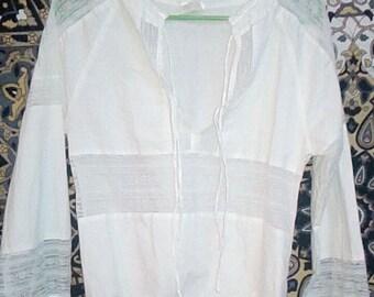 White Taffeta vintage v neck