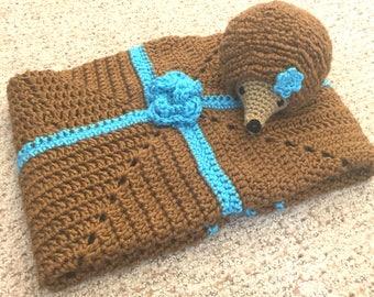 Crochet Baby Set, Hedgehog and Blanket Bundle