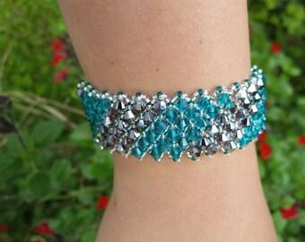 Blue zircon and silver - Swarovski Crystal cuff