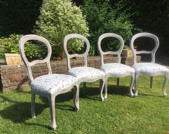 4 vintage Stunning hardwood balloon back dining chairs shabby chic. Fully reupholstered.  Painted Annie Sloan. Paris grey & Old White