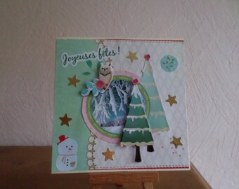 with Christmas tree and OWL greeting card