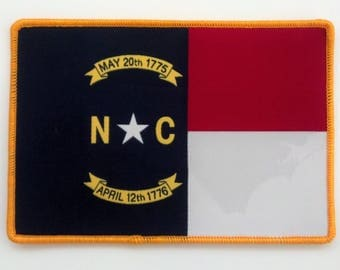 North Carolina Flag w/Ghosted State Shape iron on patch Made in USA