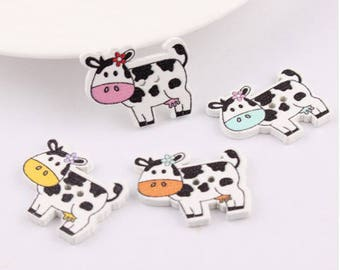 Set of 10 wooden cow buttons