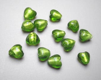 12 heart 12 mm lampwork glass beads.