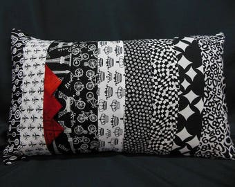 Rectangular Cushion cover, patchwork, black, white fashion, red (C365R)