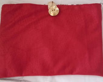 Red cover for ipad or tablet with gold button
