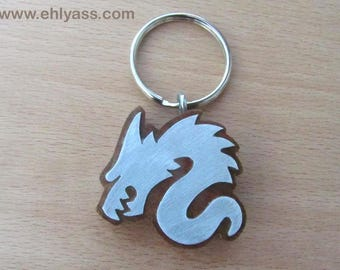 Key chain in wood and metal Dragon in solid wood made fretwork