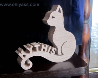 Cat 2 initials personalized fretwork wooden sculpture