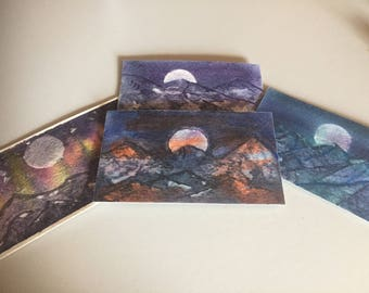 Moon and Mountain Magnets - Watercolor
