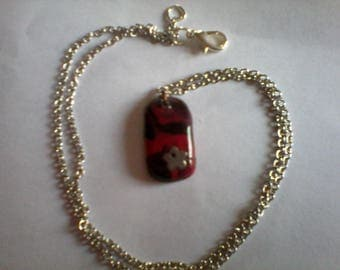 Necklace made of polymer clay, black and Red