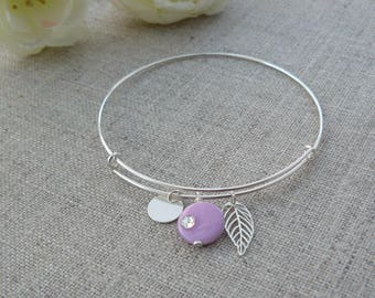 Sterling Silver Bangle Bracelet, charms and Pearl, pink, silver