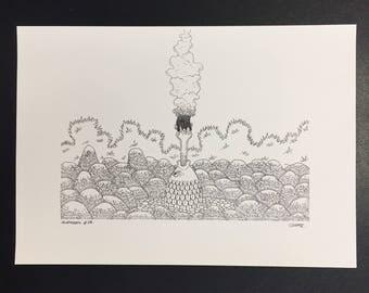 Illustration in black ink on ivory paper