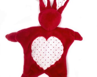 Rabbit plush red fleece and hearts