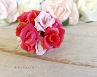 Adjustable ring Rose bouquet in pink tones