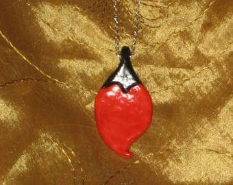 Deeply - Polymer clay heart, red and black design pendant necklace