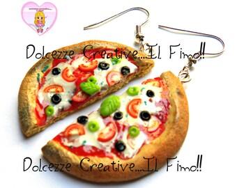 Margherita pizza with olives - Kawaii handmade polymer clay earrings