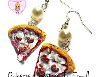 Earrings slices of pizza comes with sausage-shaped heart - handmade gift idea