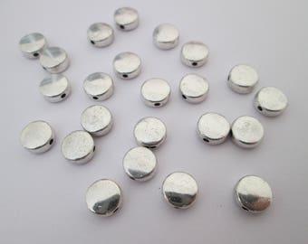 10 perles palet lisse 7 mm en métal argenté