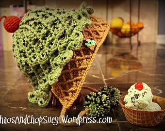 Mint Chocolate Chip Ice Cream Cone Slouchy Hat