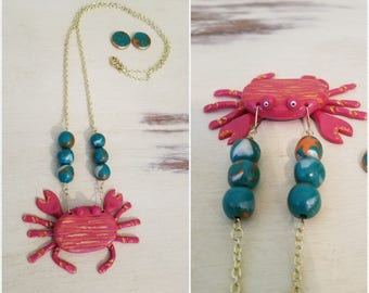 Happy Crab Necklace and Earrings