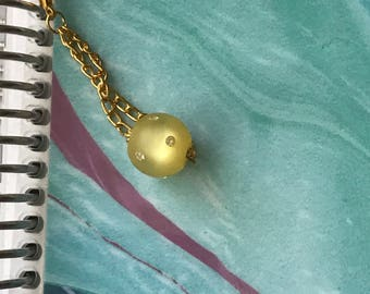 Yellow and Rhinestone Bead Planner/Purse Charm