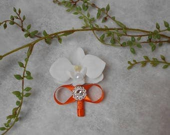 Boutonniere, brooch for wedding - white orange and silver with Orchid