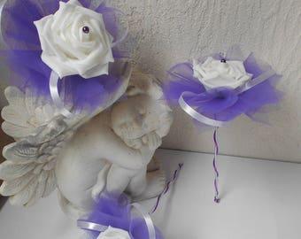Bridesmaid bouquet - white purple violet wand bouquet