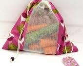 Sac à Vrac ZÉRO DÉCHET 100% Coton pour fruits et légumes Imprimé Bio NAVET-Zero Waste Shopping Pure Coton Bag for Bulk Food Turnip pattern