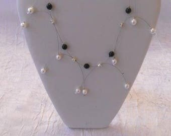 Necklace pearl beads and rhinestones