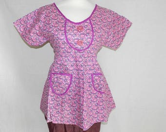 Pink top cotton tank top and trim fabric geometric waves and waves