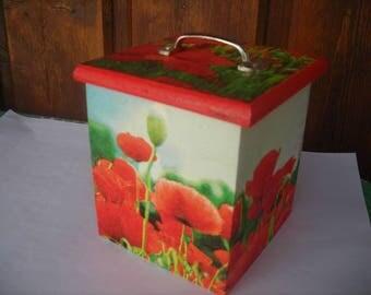 small box poppies decor jewelry box