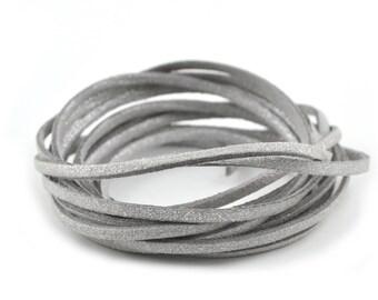 Silver glitter suede cord