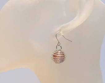 Silver cage with red ball earrings