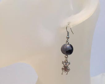 Fimo purple beetle earrings