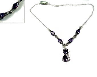 """Necklace """"Marquise Amethyst with small cats"""""""