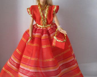 Red dress has stripes with a golden thread (B112)