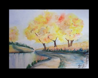 January challenge: tree Nature and its the footpath watercolor
