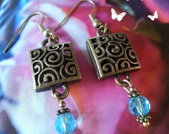 Earrings, blue and bronze