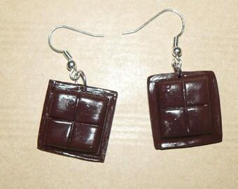 "Earrings ""Square chocolate"""
